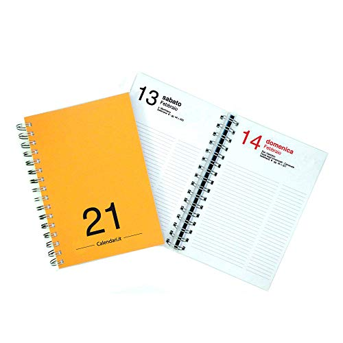 Agenda 2021 giornaliera annuale 365 giorni 15x21 cm A5 con spirale per ufficio - ARANCIO SCURO Calendari