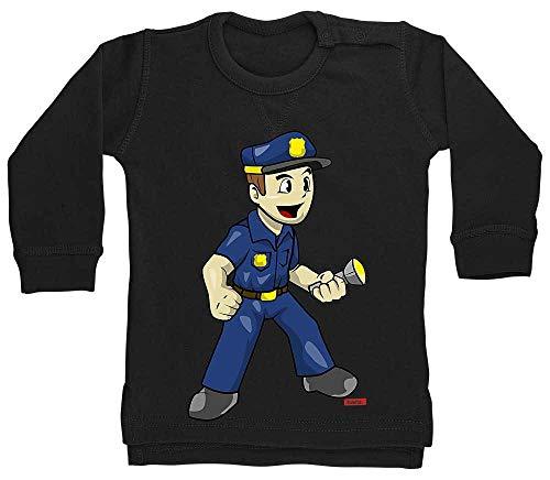 HARIZ Pull pour bébé Polizist Witzig Torche de police, carte cadeau Witizg Plus noir Pingouin noir 18-24 mois
