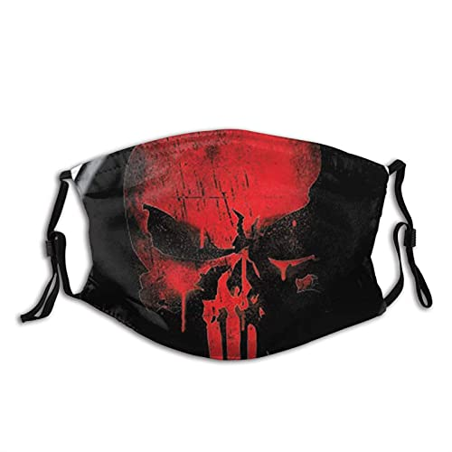 Clásico Punisher Skull Red On Black Marvel Comics Tela lavable – Máscara facial de algodón ajustable Unisex Adulto para mujeres y hombres