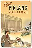 Visit Finland Helsinki Poster Metall Blechschilder Retro