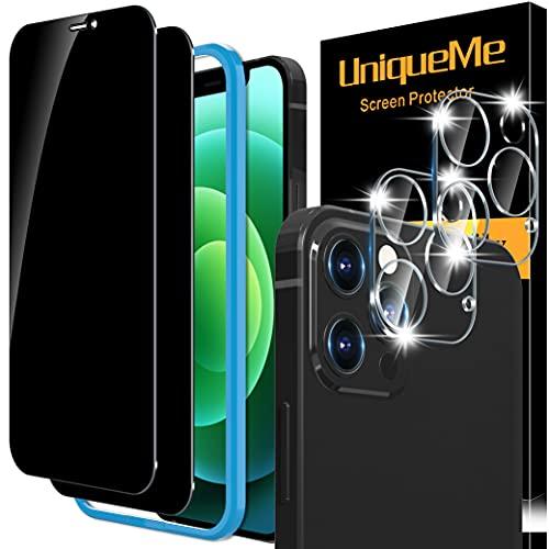 [2+2 pièces] UniqueMe Compatible avec iPhone 12 Pro Max (6,7 pouces) [2 pièces] Privacy Verre Trempé et [2 pièces] Caméra Arrière Protecteur, [sans Bulles] 9H Film Protection écran
