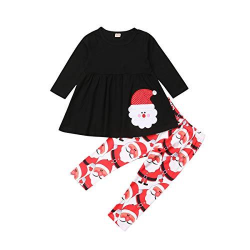 Toddler Kid Baby Girls Christmas Outfit Santa Claus Long Sleeve Tops Dress Pants Leggings Clothing Set (3-4Y, Red+Black)
