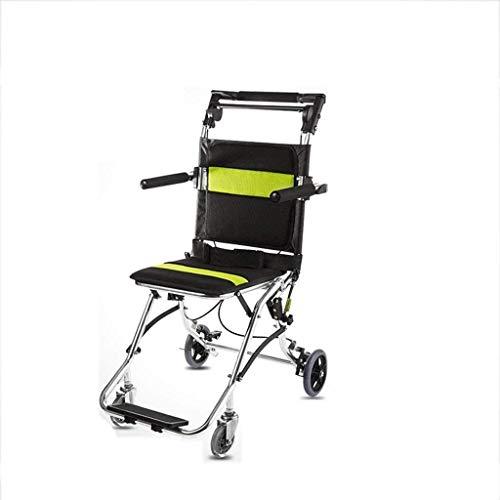 Syxfckc Gehhilfen Rehabilitationsstühle Rollstuhl, Rollstuhl Leichter faltender Rollstuhl Transitverkehr tragbaren Klappstuhl Netto-Tragegriff pannensicher Carry Rollstühle