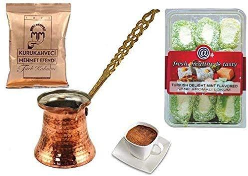 UK - Cafetière turque en cuivre - Avec poignée en métal - Taille XS - 100 g de café turc