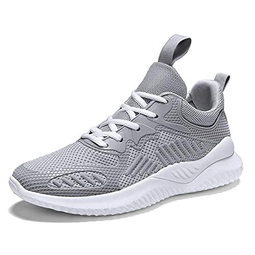 Entrenadores Hombres Zapatillas de Deporte, Zapatillas Deportivas de Tenis en el Exterior Casual Zapatos de atléticos de Gimnasio Transpirable,Gris,41