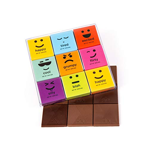 Moodibars Christmas Chocolate Candy Variety Pack | 18 Gourmet Assorted Milk & Dark Mini Samplers for Office | Emoji Get Well Fun & Humorous Food Gift Hamper | Holiday, Thanksgiving & Birthday Gifts