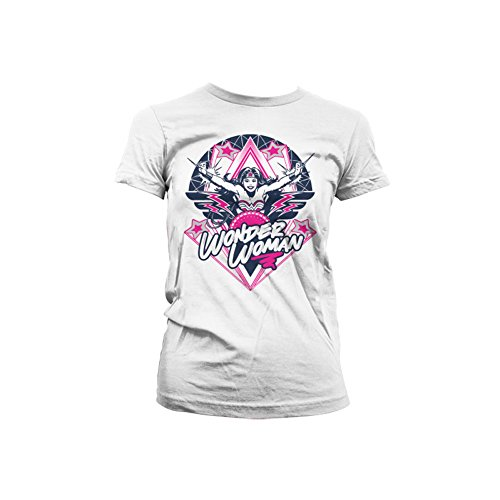 Wonder Woman Officially Licensed Merchandise Stars Girly T-Shirt (White), Small
