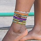 Sethain Tobilleras de perlas África, 18 piezas, pulseras de tobillo de colores,...