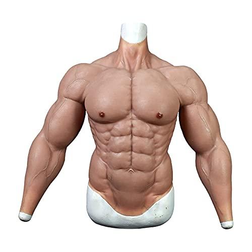 FSYH Silikon männlicher Muskelanzug Realistische Halbkörper gefälschte Muskelkiste Simulationshaut für Cosplay Halloween Requisiten Make-up Maskerade / 4