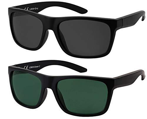 La Optica B.L.M. Herren Sonnenbrille UV400 Männer Sportbrille Fahrradbrille - Doppelpack Set Matt Schwarz (Gläser: 1 x Grau, 1 x Grün Klassisch)