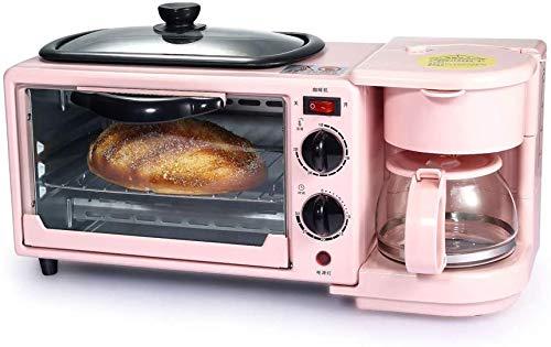 3-in-1 Mini Four électrique avec antiadhésifs antiadhésive et la Machine à café, Machine électrique Multifonction Petit déjeuner, Micro-Ondes combiné, 9-L-Four, 0,6-L-café, Rosa
