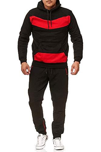 Violento Herren Jogging-Anzug | mit Bündchen und Tunnelzug | Enger Beinabschluss | Sport-Anzug mit Bauchtasche | Leder Design 610 | S-XXL (S, Schwarz-Rot)