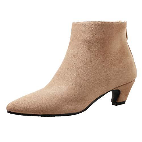 Dearney Damen Kurzschaft Stiefel mit Kitten Heels Stiefeletten Ankle Boots Kleiner Absatz Winterstiefel Damenschuhe