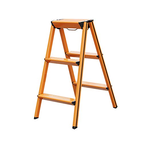 LIXIONG Escalera de Tijera, Escalera de 3 PeldañOs Hogar Y Cocina Escaleras de Mano, PortáTil MultifuncióN por Interior Exterior Trabajos, 150 Kg Capacidad (Color : Wood Color, Size : 57.5x42x70cm)