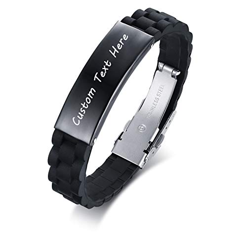 XUANPAI Custom Engraved Name Silicone Stainless Steel ID Tag Bracelet Personalized Jewelry Gift for Him
