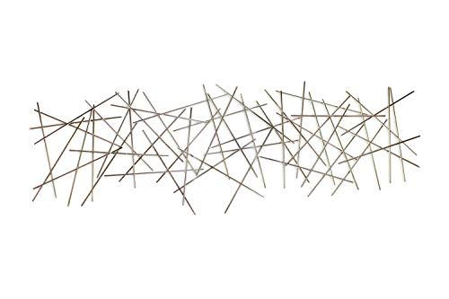KunstLoft Extravagante Metall Wandskulptur 'Stick Together' 150x50x3.5cm | Design Wanddeko XXL handgefertigt Metallbild Wandrelief | Abstrakt Stäbe Gold Silber | Wandbild modern