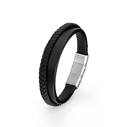 s.Oliver Herren-Armband 20+1,5 cm mehrreihig Edelstahl Leder 21.5 cm 2015061