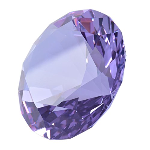 """LONGWIN 50mm (2"""") Crystal Faceted Diamond Paperweight Wedding Favor Home Decor (Purple)"""