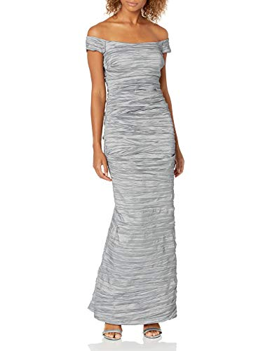 Alex Evenings Women's Long Fitted Off The Shoulder Dress, Platinum, 6