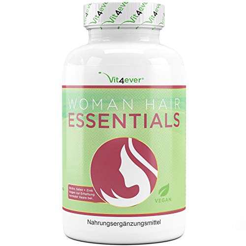 Haar Vitamine - Premium: Hochdosiert mit Biotin, Hirseextrakt, NAC, Selen, Zink, Kupfer, Molybdän, Vitamin A B1 B2 B3 B5 B9 E - 120 Kapseln - Vegan - Laborgeprüft