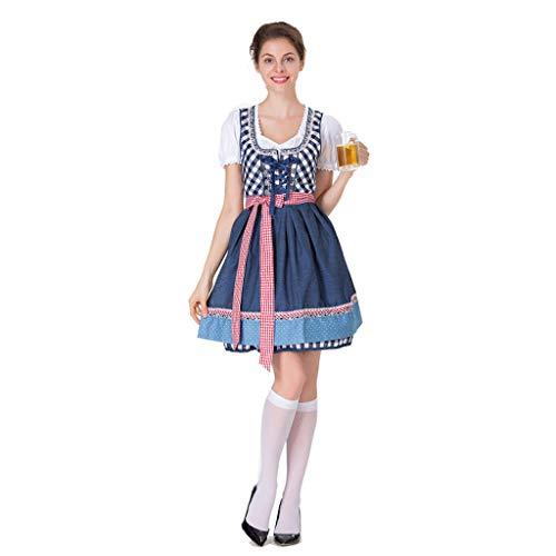 PROTAURI Deutsche Dirndl Kostüme für Damen - Bayerischer Oktoberfest Karneval Halloween Cosplay Maid Dress Outfit