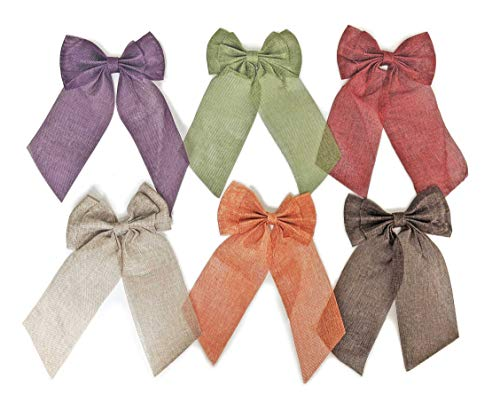 Burlap Ribbon Soft Bows for Thanksgiving Christmas Holiday Craft and Wreaths 6 Pc Variety Pack in Orange Brown Green Purple Natural Red