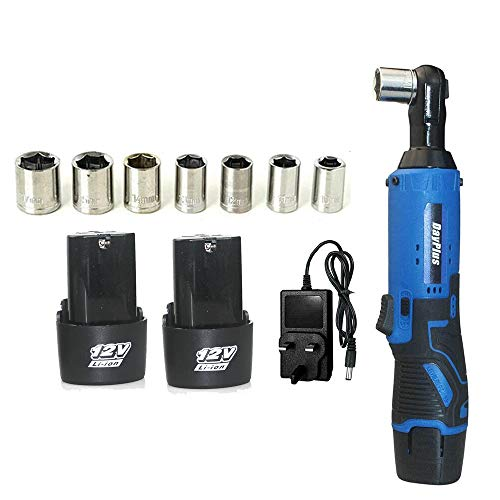 Ratchet Wrench Kit 3/8' Square Driver Impact Wrench 12V Electric Cordless Ratchet Right Angle Wrench Tool Set