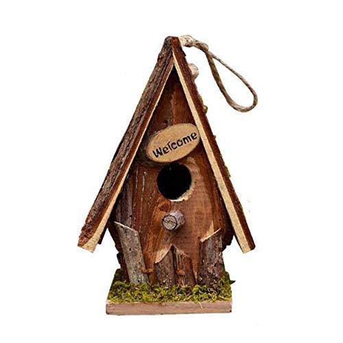Lwieui Nichoirs Oiseau Maison Petit Oiseau Chalet Volière for extérieur Outdoor Creative Steeple Nid d'oiseau Boîte (Couleur : Marron, Size : 14.5x21.5x11.5CM)