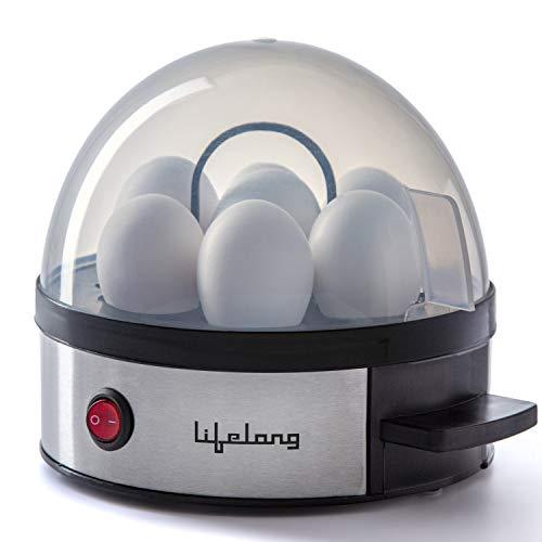 Lifelong Egg Boiler 350W with 7 Egg Capacity with Auto Cutoff & Buzzer (Black/Silver)