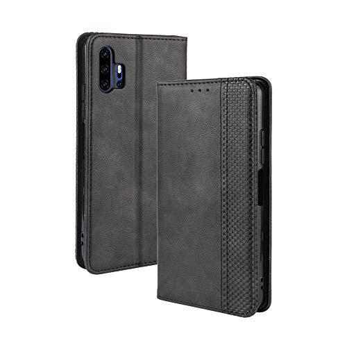 LAGUI Kompatible für UMIDIGI F2 Hülle, Leder Flip Hülle Schutzhülle für Handy mit Kartenfach Stand & Magnet Funktion als Brieftasche, schwarz