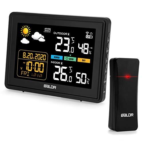 Qomolo Wetterstation Funk mit Außensensor Wireless Hygrometer Thermometer mit Bunte LCD-Bildschirm, Wettervorhersage Wetterstationen für Innen und Außen mit Datum Uhrzeit/Wecker/Snooze Funktion