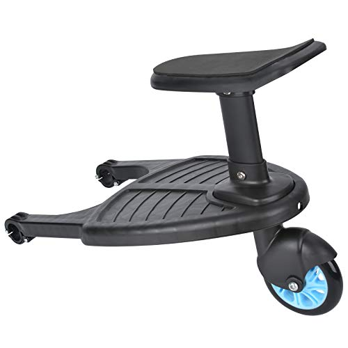 MorNon Buggy Board with Seat Standing Board Baby Jogger Travel Pram Pushchair Buggy Board Seat Stand Connector Toddler Blue