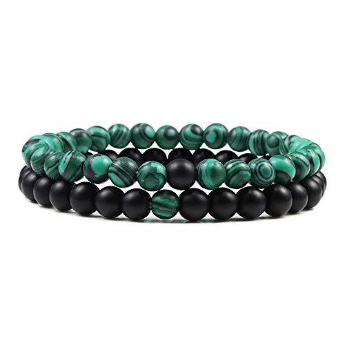 2PCS/Set Beaded Bracelets Bangles Set Natural Lava Stone Couples Distance Energy Elastic Rope Men Women Best Friend Jewelry Gift-6mm Green Black Set_CHINA