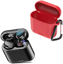 TOZO T6 Protective Silicone Case Red & T6 True Wireless Earbuds Black