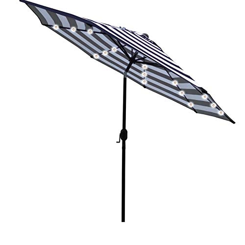 Sunnyglade 9' Solar 24 LED Lighted Umbrella with 8 Ribs Adjustment and Crank Lift System for Patio - Black and White