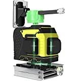 12 Lines 360°3D Self Leveling Laser Level Green Beam Horizontal/Vertical Cross Line Straight/Tilt Line Rechargeable Remote Control Wall Mount Bracket High Precision Auto Self Leveling