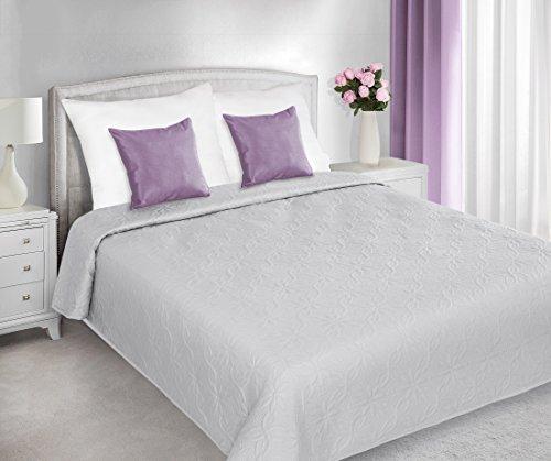 DecoKing 220x240 Tagesdecke mit gepresstem Muster Silber Bettüberwurf Steppbettüberwurf Steppung romantisch rustikal Silver