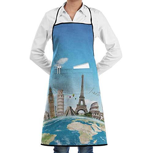 PONIKUCY Schürze Kochschürze,Berühmte Denkmäler von Pisa Taj Mahal Gizeh Pyramiden Paris Wahrzeichen Thema,Küchenschürze Latzschürze Nackenband