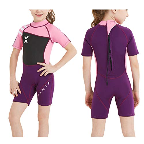 DIVE & SAIL Kids Wetsuit Shorty, 2.5mm Neoprene Thermal Swimsuit, Youth Boys and Girls Wet Suits for Snorkel Diving, Full Suit and Shorty Swimsuit (Girl's Shorty-Pink, Kids L Size)