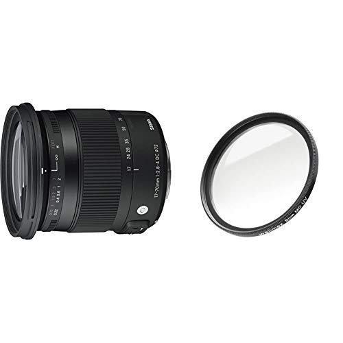 Sigma 17-70 mm f2,8-4,0 Objektiv (DC, Makro, OS, HSM, 72 mm Filtergewinde) für Canon Objektivbajonett & Walimex Pro UV-Filter Slim MC 72 mm (inkl. Schutzhülle)