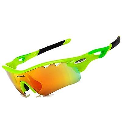 JOGVELO Polarized Sports Sunglasses,Cycling Glasses Men UV400 with 5 Interchangeable Lenes, Green