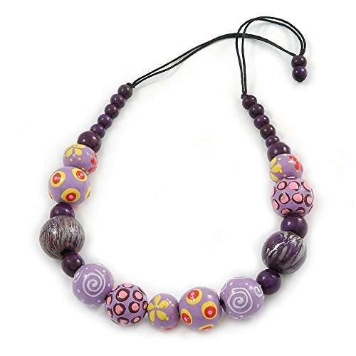 Avalaya - Collana in cordoncino di cotone nero con perline di legno, lunghezza 66 cm, colore: lilla