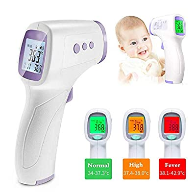 Infrared Forehead Thermometer, Accurate Digital Thermometer Non-Contact Laser Thermometer Temperature Gun Portable Body Basal Thermometer Gun with LCD Display for Infants and Adults, immediate Result