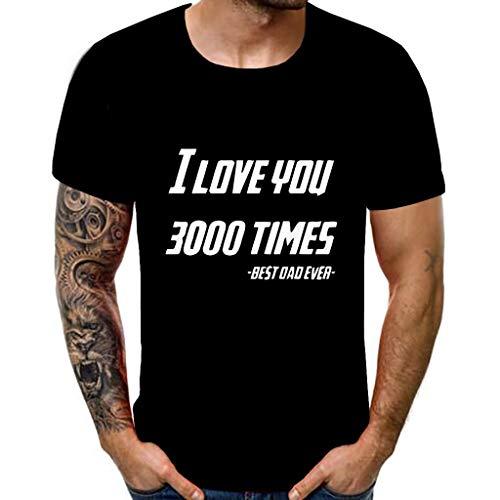 Xmiral Tee, Maglietta Uomo Top in Camicetta Comoda con Stampa a Maniche Corte Stampata 3D Stile Nuovo da Uomo I Love You 3000 Times XXXL 1- Black