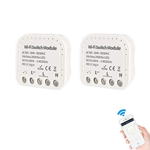 2pcs Interruttore WiFi wireless smart switch modulo da incasso compatibile Alexa, Google Home, Apple iOS, Android, a controllo vocale per uso da uno o più punti anche con deviatore e invertitore