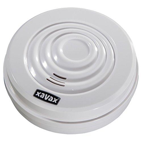 Xavax Wassermelder zum Schutz vor Überschwemmungen oder Wasserschäden, Alarmanlage für Bad, Keller, Heizraum etc., extra lautes Alarmsignal (95 dB) weiß