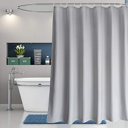 EurCross 78inch Long Shower Curtain Gray Waffle Weave Fabric Thick, Hotel Luxury Decorative Grey Shower Curtain for Bathroom Farmhouse 72 x 78inches