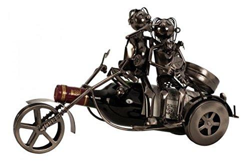 Unbekannt Moderner Wein Flaschenhalter Flascchenständer Paar auf Motorrad aus Metall in Silber Höhe 20 cm Breite 37 cm