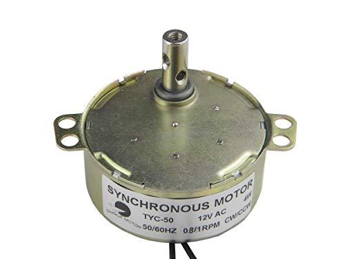 CHANCS TYC-50 Motor síncrono 12V AC 0.8/1RPM CW/CCW Motor de Alto par 4W Motor de Ventilador AC