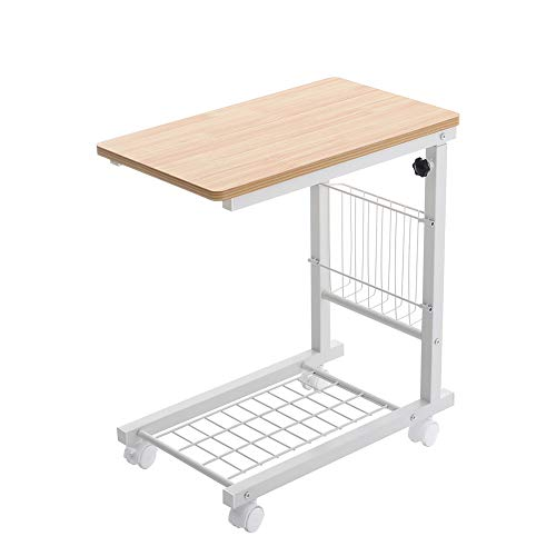 INMOZATA Overbed Table Adjustable Height Side Table Storage Sofa Table Metal Frame with Wheels for Living Room Bedroom (Natural+White)